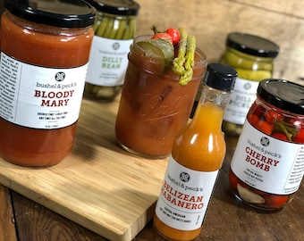 B&P's Bloody Mary Kit:  Perfect Gift Box of Small Batch Mix, Pickles and Hot Sauce