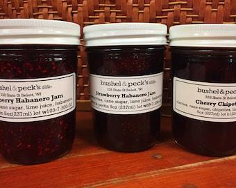 Jam Gift Box ~ Sweet and Spicy: Raspberry Habanero, Cherry Chipotle, Strawberry Habanero