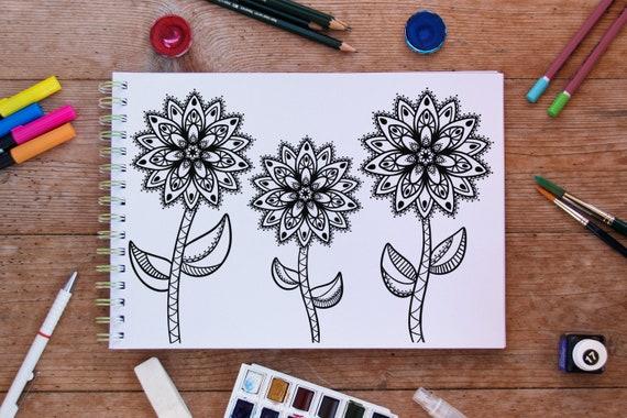 Flower Garden Mandala Coloring Page Instant Downlad Hand Etsy
