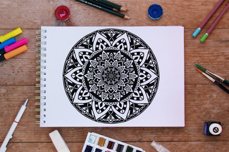 Stained Glass Mandala Coloring Page Printable Instant Etsy