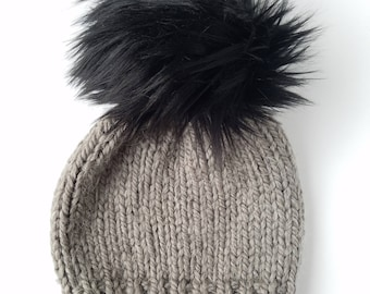 3bc844f6e18 INTERCHANGEABLE Alpaca Knit Beanie   Gray Knit Beanie   Fur Pom Hat   Men s  Gift Hat   Women s Knit Beanie