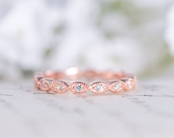 Rose Gold Wedding Band - Art Deco Ring - Full Eternity Ring -  Stacking Ring - Marquise Ring - Dainty Band - Thin Ring - Sterling Silver