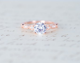Rose Gold Engagement Ring - Art Deco Ring - Promise Ring - Vintage Ring - Wedding  Ring - Sterling Silver f016030131