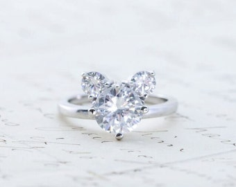 Unique Engagement Ring Mickey Mouse Ring 3 Stones Ring Etsy