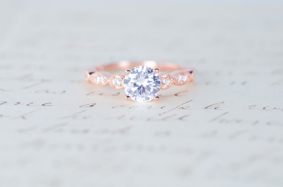 Rose Gold Engagement Ring Art Deco Ring Promise Ring Etsy