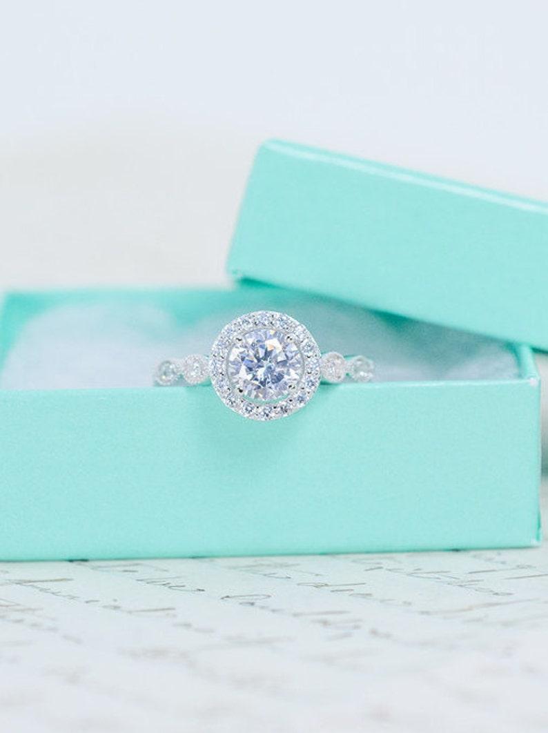 SALE  Round Halo Engagement Ring  Art Deco Wedding Ring  image 0