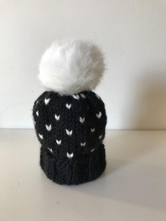 540f763ffbc CHILD SIZE Black   White Fair Isle Hat w. Faux Fur Pom Pom