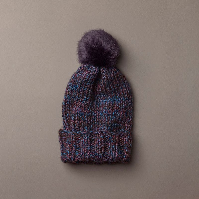803a3c5e026768 Purple Multi Wooly Hat w. Faux Fur POM POM | Etsy