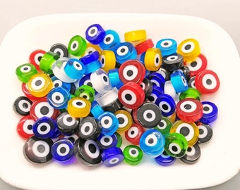 Evil Eye Amulet MIX 50/100 of Handmade Millefiori Glass Beads for Mosaic Decoration (3-6mm thick, 6-13mm diameter, 40-90gr weight)