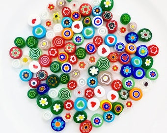 Rainbow Mix of 50/100/200 Handmade Millefiori Glass Beads for Mosaic Decoration, Lampwork, Jewellery Making (3-6mm thick, 5-12mm diameter)