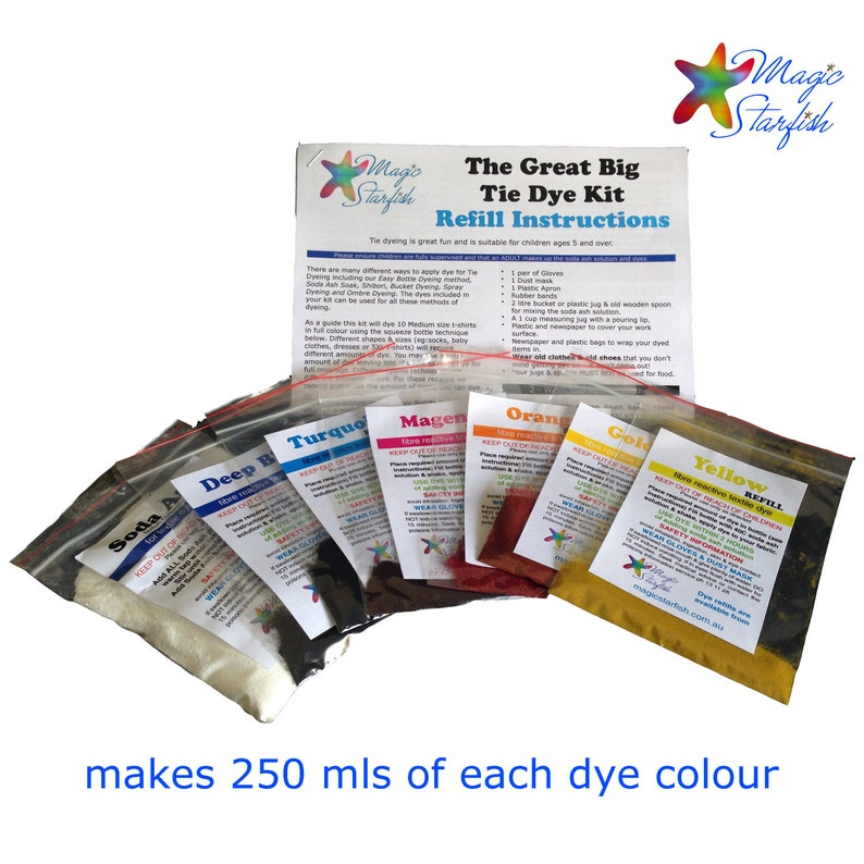 a5c92110197a REFILL Great Big Tie Dye kit 6 dye colours Real Fabric Dyes