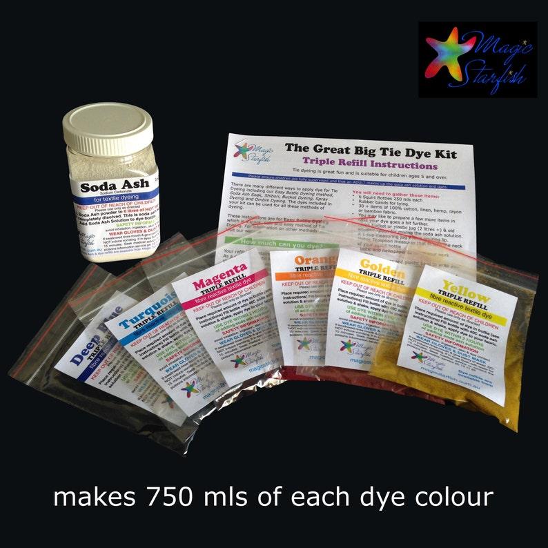 1f66695de12a 3x REFILL Great Big Tie Dye kit 6 dye colours Real Fabric Dyes