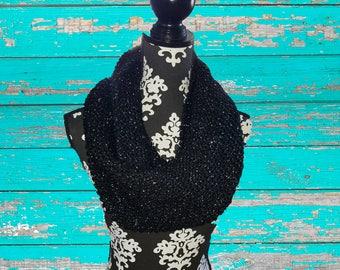 Hand-Knit Black Sparkle Infinity Scarf