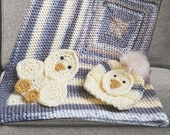 Hand-Crochet Baby Blanket and Baby Beanie Chick Set, Snap on and off animal decals, Yellow and Grey, Gender Neutral, Pom Beanie Gift