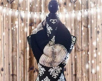 Hand-Knit Black and Tan, Grey & White Variety Infinity Scarf