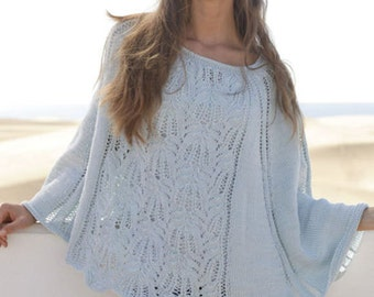 Knit Poncho,cotton poncho,Hand Knitted Poncho,spring poncho/ Made to order