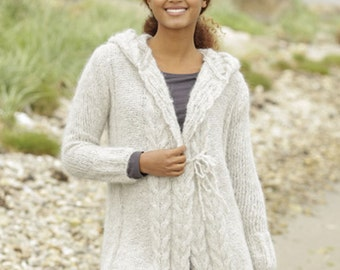 Knit jacket,Hooded Jacket,Alpaca jacket,knit cardigan, Knitted Jacket,cardigan..Made to order