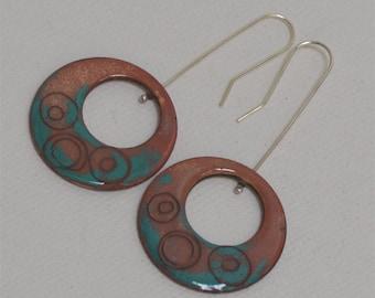Organic enamelled copper disc earrings