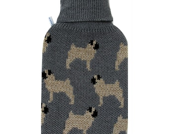Merino Wool Pug Hot Water Bottle Cover