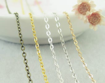 10M Brass 1.5mm chains, fine chain, oval Chain, bronze , silver, gold chains wholesale necklaces charms sets Jewelry finding  SC0