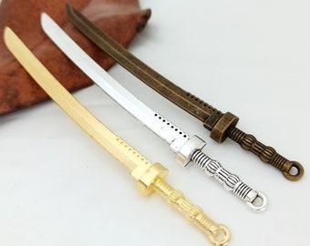 Antique Sword Pendant , 10x108mm swords alloy sword Jewelry sets 4pcs