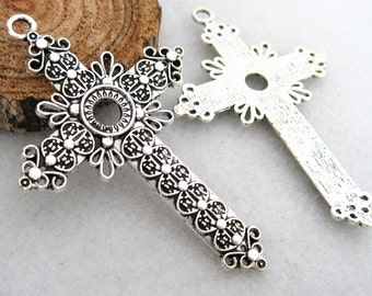 3pcs 76x49mm-10mm tray, antique silver cross base pendant, cross charms settings connectors Jewelry findings xm0