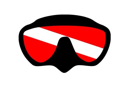 Plongée sous-marine: Plongée masque w/drapeau numérique DXF | PNG | Fichiers SVG!