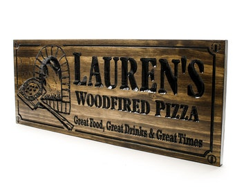 Pizza oven Sign-Restaurant Sign-Bar Sign-woodfired pizza-Personalized Wood Sign-Anniversary Gift, Father's Day (CWD-405-B)