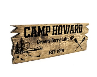 Wooden Camp Sign, Custom Cabin Sign, Carved Outdoor Signs, Custom Wood Sign, Mountain Home, Personalized Rustic Lake House Sign, Beach House