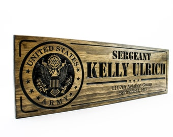 Military Sign-US Army-Navy Sign-Custom sign-Personalized Wood Sign-Veterans Day Gift- Father's Day (CWD-218)