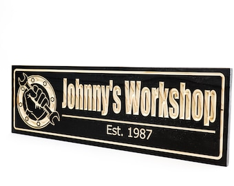 Garage Sign- Man Cave Sign-Shop Sign- Truck Sign-Custom sign-Personalized Wood Sign-Anniversary Gift-(CWD-765)