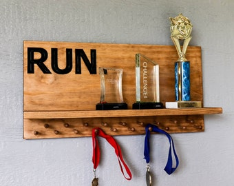 Marathon Medal display 23x11 with 19 PEGS and trophy shelf, running medal hanger(CWD-776)