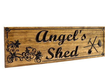 She shed sign-gardening-flowers, Mother's Day-Family Sign-Marriage Sign-Custom sign-Personalized Wood Sign (CWD-628)
