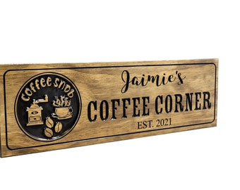 Coffee Bar Sign- coffee snob sign- coffee lover gift- custom wooden kitchen sign- mother's day  (CWD-759)