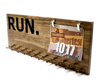 Marathon Medal display 23x9 with 19 or 30 PEGS-running medals and race bibs holder-Marathon, Father's Day Gift(CWD-569)