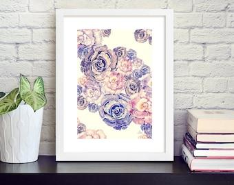 Floral digital print on high quality art paper, 30x40 cm  (app.12x16')