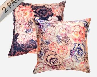 2 PACK Peonies pillowcases by original design, marsala and pastel orange flower satin pillows, ivory, pink, bordo 18x18'(45x45 cm)
