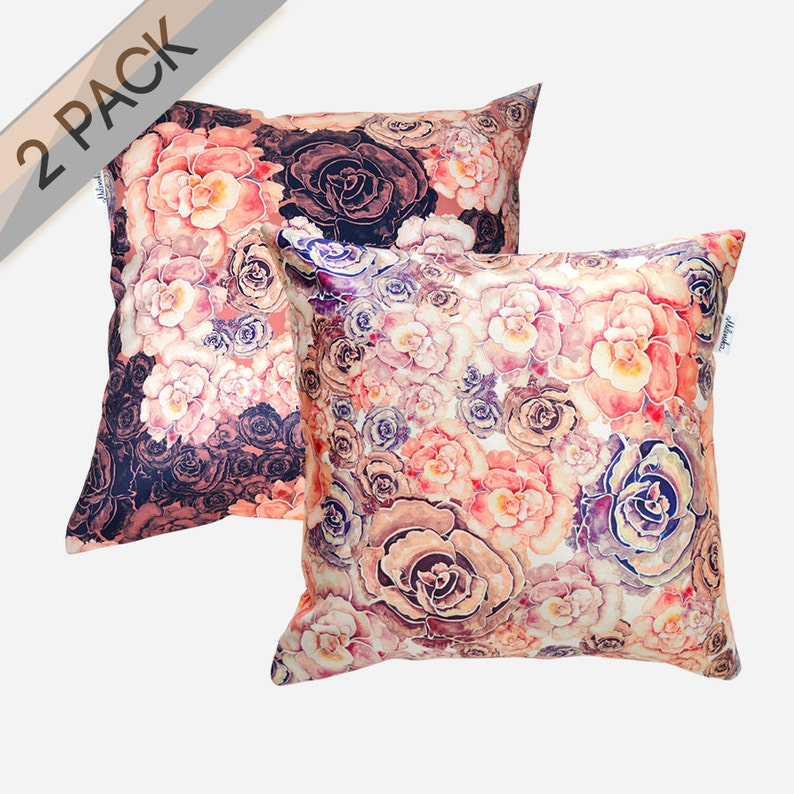 2 PACK Peonies pillowcases by original design marsala and image 0