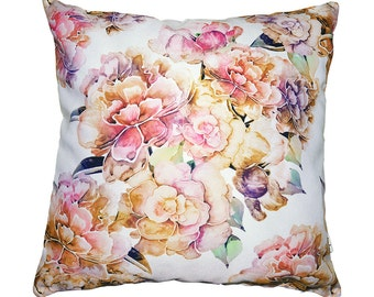 Peonies pillow cover by original pattern design, lilac gold and pink floral cushion covers 16x16'(40x40cm)