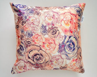 Coral & Lilac Peony pillowcase by original design, flower satin pillow cover, ivory, pink, violet 18x18'(45x45 cm), 20x20' (50x50 cm)