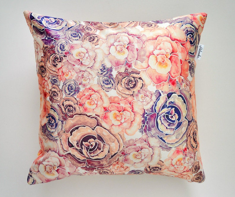 Coral & Lilac Peony pillowcase by original design flower image 0