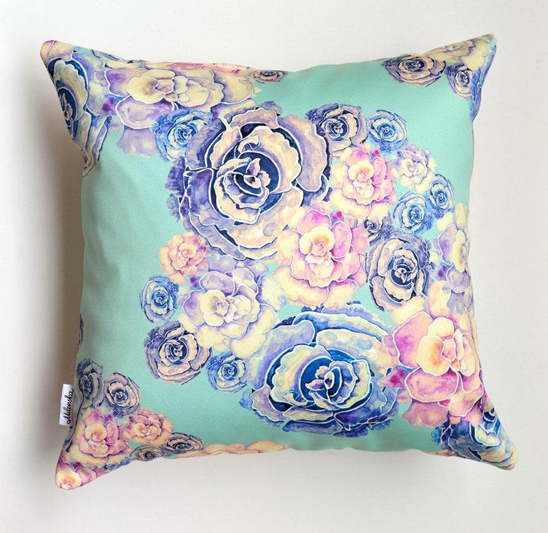 Green Peony pillowcase by original design flower satin pillow image 0