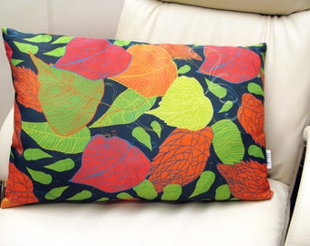 Fallen leaves pillowcase by original pattern design, decorative cushion cover in yellow, orange, green, blue 14x22', 20x20'