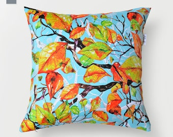 Falling leaves pillowcase by original design, watercolor cushion cover, blue, apple green and golden pillow 18x18' app.(44x44 cm)