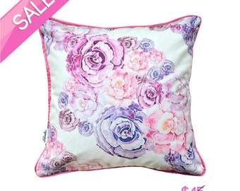 Flower pillow cover made of linen-cotton canvas 18x18' app. (45x45 cm)