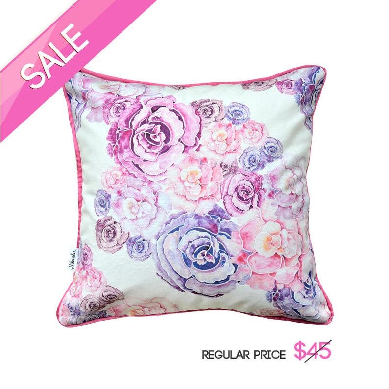 Flower pillow cover made of linen-cotton canvas 18x18' image 0