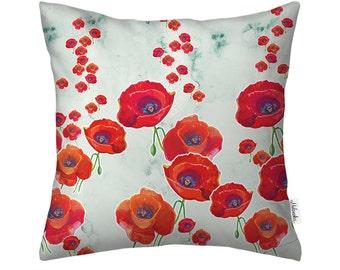 "Poppy pillow cover by original design, 16x16 "" (40x40 cm) 18x18"" (45x45 cm), 22x22' (55x55 cm)"