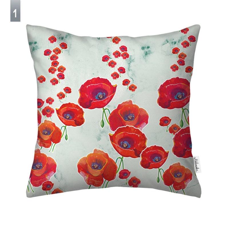 Poppy pillow cover by original design 16x16  40x40 cm image 0