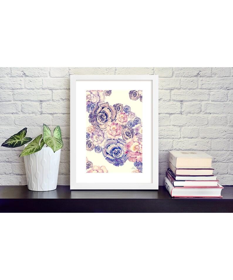 Floral digital print on high quality art paper 30x40 cm image 0