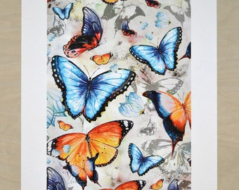 Butterfly art print by original watercolor illustrations, bright orange pattern, red, yellow, deep blue, grey 30x40cm(app. 11.8x15.8')